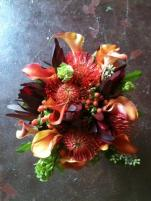 Unique fall orange bouquet created for another Maine Bride.